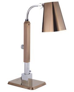 Single Heat Lamp, Stainless Steel, Polished RoseCopper Finish with additional power receptacle