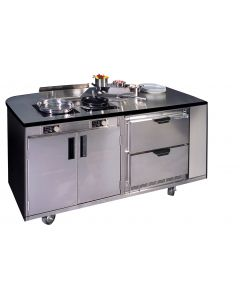 "Mobile Culinary Station 72"" x 35"" with (2)208-2600W Induction Ranges,  (1) AF350 Air Filter,"