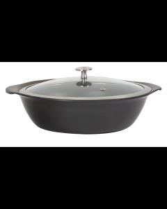 "Motif, Titanium Round Casserole Pan with GlassCover, 9-1/2"" x 3-1/4"", 2-1/4 Quart Capacity"