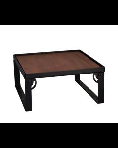 "Industrial Square Riser w/Wood Top, Matte Black, 9""x9""x6"""