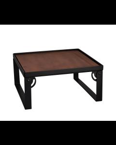 Industrial Square Riser w/Wood Top, Matte Black, 12x12x8
