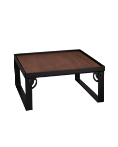 Industrial Square Riser w/Wood Top, Matte Black, 15x15x6