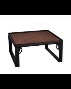 Industrial Square Riser w/Wood Top, Matte, Black 15x15x8