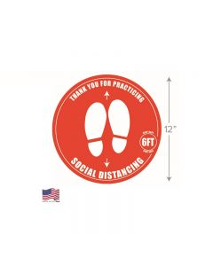 Spring USA Social Distance Floor Decal, 12 inch, 125 Count