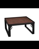 "Industrial Square Riser w/Wood Top, Matte Black, 12""x12""x9"