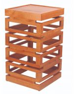 """Wowers, Wood Display Tower, 19 3/4""""H x 11""""W x 11""""D"""